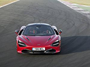 Картинки McLaren Бордовый Металлик Спереди 2017 720S Coupe Автомобили
