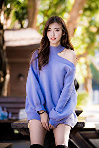 Обои Азиатки Шатенки Платья Взгляд Размытый фон Свитер молодые женщины