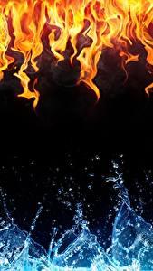 Картинки Пламя Вода Текстура Черный фон