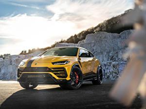 Обои для рабочего стола Lamborghini Желтый Металлик CUV Urus SSUV, 2020 Автомобили