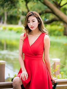 Обои Азиатки Боке Платья Красная Шатенки девушка