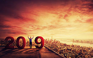 Фотографии Новый год Мужчины Рассветы и закаты 2019 Города