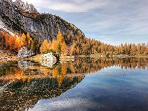 Картинка Озеро Гора Лес Осенние Альпы Дерева Природа