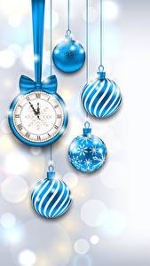 Картинка Новый год Часы Шарики Голубая