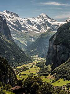 Фото Швейцария Горы Каньон Скала Wengen Canton Berne
