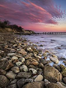 Фото Рассветы и закаты Побережье Камни Волны