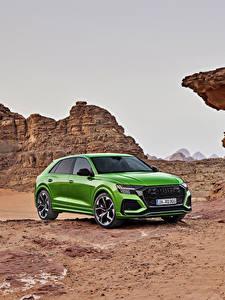 Обои для рабочего стола Audi Кроссовер Зеленые Металлик 2020 RS Q8 Worldwide Автомобили