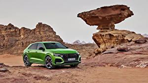 Обои Audi Кроссовер Зеленые Металлик 2020 RS Q8 Worldwide Автомобили