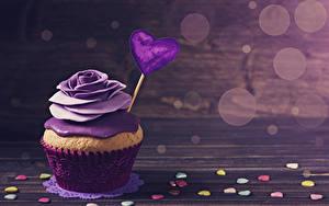 Фотография День святого Валентина Сладости Розы Капкейк кекс Доски Дизайна Сердца