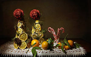 Картинка Мандарины Лимоны Сладости Дизайн