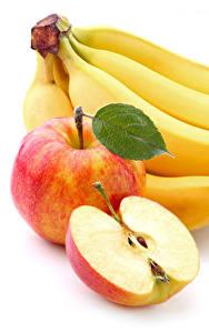 Фотографии Фрукты Бананы Яблоки Вблизи Белый фон