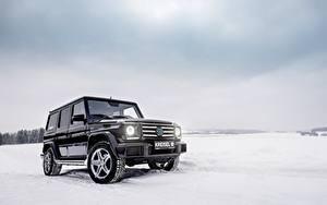 Обои Мерседес бенц Гелентваген Зимние Черный Снег W463 Авто