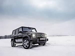 Обои Mercedes-Benz G-класс Зима Черных Снегу W463 Автомобили