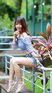 Фотографии Азиаты Шатенки Сидящие Ног Шорты Блузка Улыбка Взгляд девушка