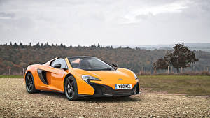 Обои McLaren Металлик Желтых Родстер 2014-16 650S Spyder