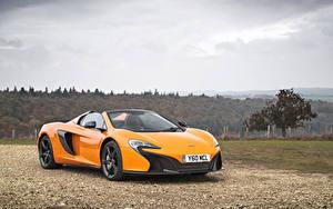 Обои McLaren Металлик Желтых Родстер 2014-16 650S Spyder Автомобили