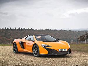Обои McLaren Металлик Желтый Родстер 2014-16 650S Spyder