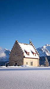 Фото Германия Зима Горы Дома Леса Небо Бавария Снег Ель Kranzbach