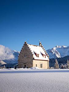 Фото Германия Зима Горы Дома Леса Небо Бавария Снеге Ель Kranzbach Природа