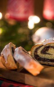 Фото Рождество Выпечка Рулет Разделочная доска Часть Еда
