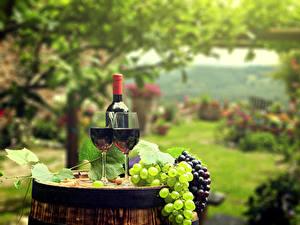 Картинки Вино Виноград Бочка Бокалы 2 Бутылка