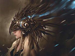 Обои Блондинки В шлеме Фэнтези Девушки