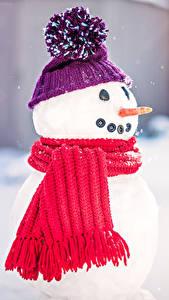 Обои Новый год Шапка Снеговики Шарф