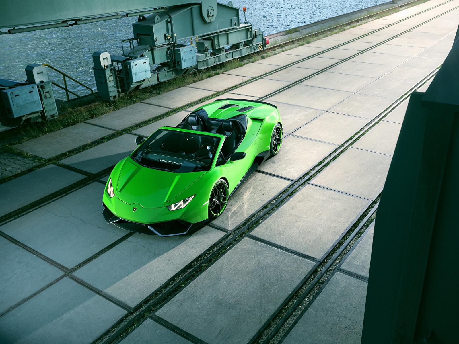 Обои Lamborghini 2016 Novitec Torado Huracán LP 610-4 Spyder Родстер Салатовый Автомобили 1600x1200 Ламборгини салатовая салатовые желто зеленый Авто Машины