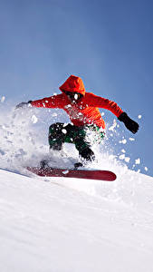 Картинка Сноуборд Зима Мужчины Снег Спорт