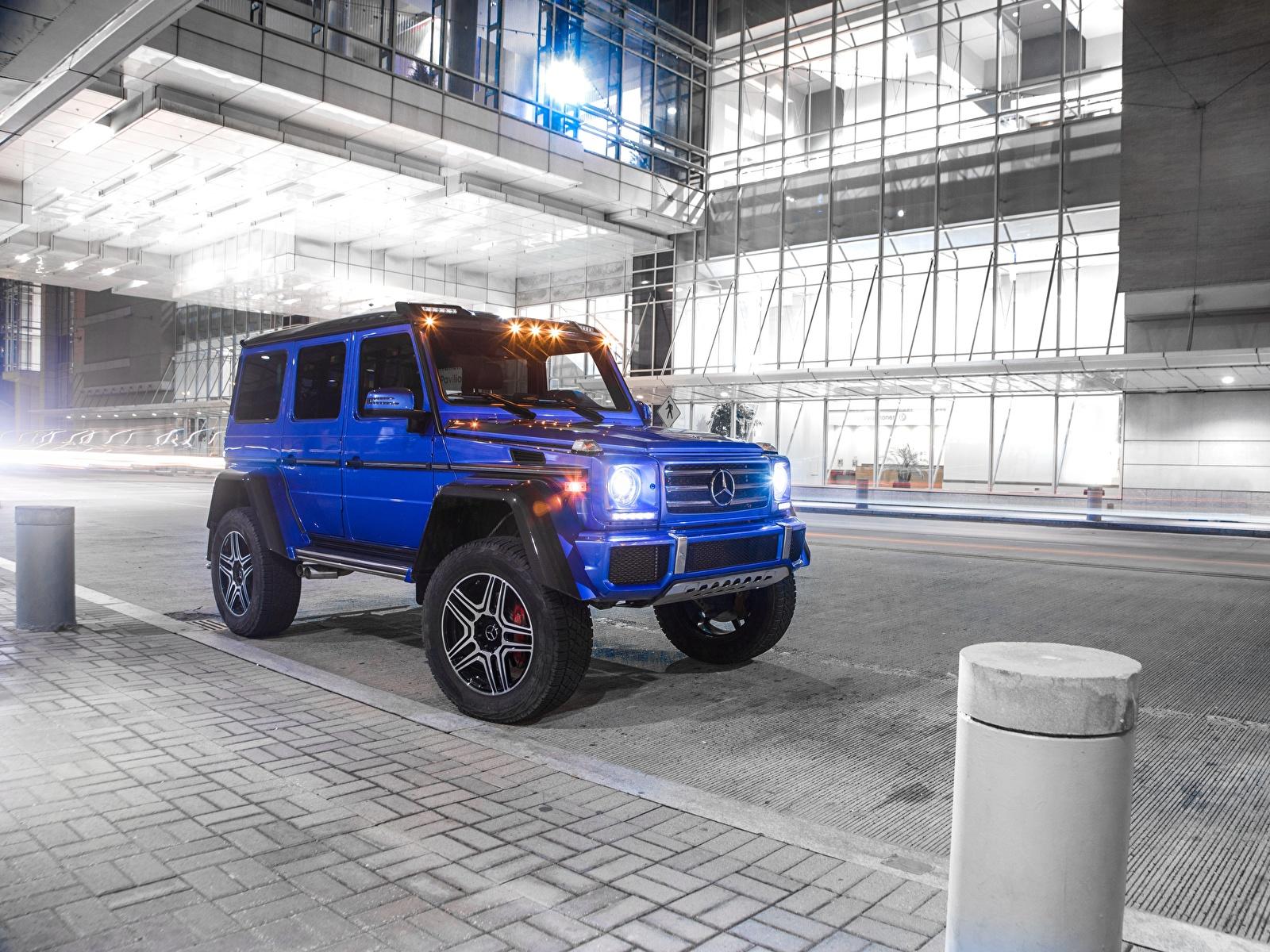 Фотография Мерседес бенц Гелентваген 2017 G 550 4×4² Синий Автомобили 1600x1200 Mercedes-Benz G-класс синих синие синяя авто машина машины автомобиль
