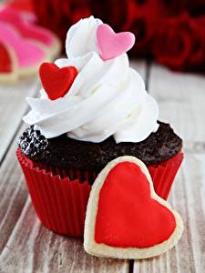 Картинка День святого Валентина Капкейк кекс Сердечко Пища