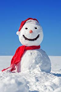 Фотографии Новый год Зима Снег Снеговики Шарф
