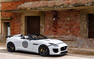 Картинка Ягуар Белый Родстер UK-spec F-Type 2014 Project 7 Автомобили