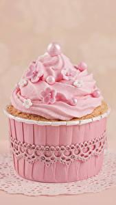 Фотографии Капкейк кекс Крупным планом Сладости Розовая Пища