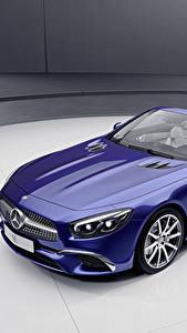Фотографии Mercedes-Benz Синий Кабриолет Металлик 2017 SL-Klasse designo Edition Машины
