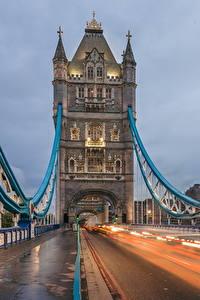 Картинка Мост Дороги Англия Едет Лондоне Tower Bridge