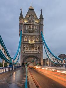 Картинка Мост Дороги Англия Едет Лондоне Tower Bridge Города