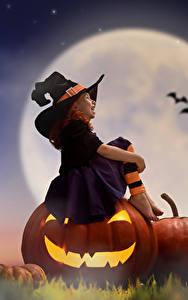 Фотография Тыква Хеллоуин Девочки Луна Ночь Шляпа Сидящие Ребёнок