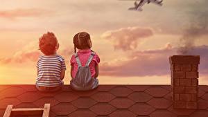 Картинки Самолеты Мальчишки Девочка 2 Спина Сидит Крыша Дети