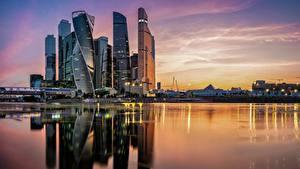 Фотография Москва Россия Реки Вечер Отражается Moscow City Города