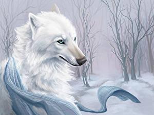 Обои Рисованные Волк Белый Красивая Животные