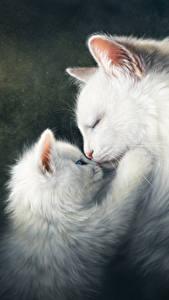 Картинка Коты Рисованные Любовь Вдвоем Котята Белый Милые Животные