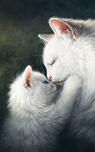 Картинка Коты Рисованные Любовь Двое Котят Белый Милые Животные