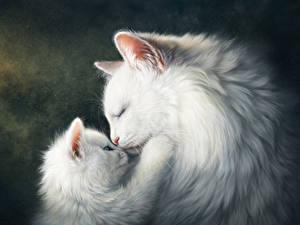 Картинка Кот Рисованные Любовь Двое Котята Белый Милые Животные