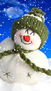 Картинки Зима Снеговики Снег Шапки Шарф