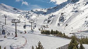 Обои Испания Горы Зимние Снег Sierra Nevada Granada