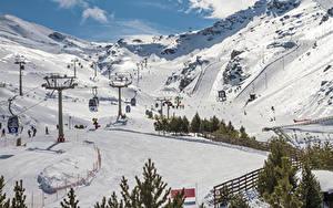 Обои Испания Горы Зимние Снег Sierra Nevada Granada Природа