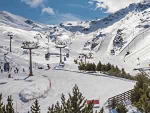 Обои Испания Горы Зимние Снегу Sierra Nevada Granada