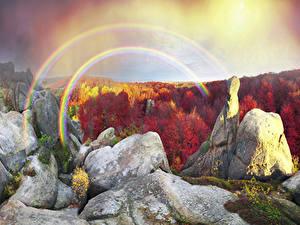 Фотографии Украина Осень Лес Закарпатье Скала Радуга Мха Природа