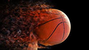 Картинки Баскетбол Огонь На черном фоне Мяч Спорт